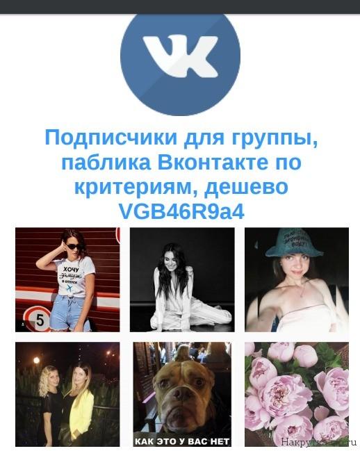 Подписчики для группы, паблика Вконтакте по критериям, дешево VGB46R9a4