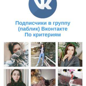 Подписчики в группу, паблик Вконтакте. По критериям tvayWeKUa